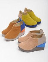 特 POU DOU DOU pdd  拼色合成皮革高帮高帮厚底鞋 价格:125.00