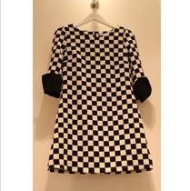 2013秋装新款女装复古棋盘格子修身气质7分袖连衣裙韩版打底裙子 价格:149.00