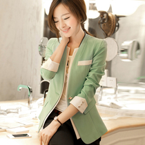 2013秋季新款时尚百搭修身女士小西装韩版V领长袖糖果色休闲外套 价格:108.00