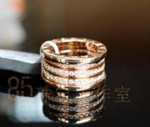 宝格丽款  18k玫瑰金  满钻 弹簧 戒指 价格:28000.00
