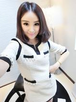 娃娃家 2013新款女装 秋装裙子名媛气质水钻毛呢小香风连衣裙Q879 价格:88.00