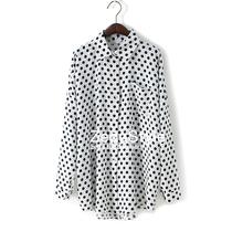 特价 欧美波点宽松口袋翻领衬衫裙 圆点中长款长袖大码衬衣女秋装 价格:53.90