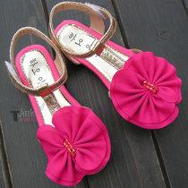 2013新款女童鞋凉鞋罗马鞋 韩版潮小女孩花朵鞋鱼嘴外贸儿童软底 价格:16.90