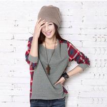 包邮2013秋季新款女装大码宽松圆领T恤拼接格子长袖T恤 打底衫 女 价格:22.90