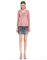 三彩  粉红咖啡菱格撞色长袖针织衫W1317030161183 原价319 现货 价格:66.00