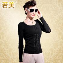 若美 2013秋装新款小衫 圆领长袖打底衫 灯笼袖蕾丝纯色T恤 18228 价格:168.00