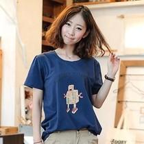 秒杀包邮2013夏装新款 韩国代购宽松韩版可爱卡通短袖潮女士体T恤 价格:9.90