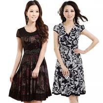 13夏新款哥弟22030蕾丝雪纺连衣裙大码韩版真丝女装时尚衣裙清仓 价格:43.00