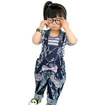 2013秋装女孩时尚儿童背带裤宝宝童装牛仔裤女童碎花长裤哈伦裤 价格:39.50