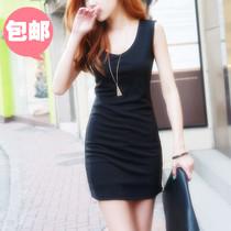 2013夏季新款女装纯棉韩版V领无袖连衣裙修身T恤长款打底包臀 价格:39.00