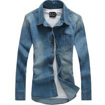 牛仔衬衫男长袖 韩版修身长袖寸衫 休闲衬衣男装潮新款秋装薄外套 价格:68.00