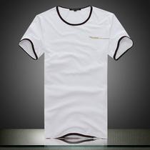 修身韩潮短袖T恤男夏日系流行衣服简约纯色男t恤男款t恤白色短袖 价格:58.00