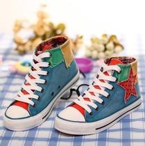 秋季新款做旧水洗牛仔高帮帆布鞋女鞋子韩版潮休闲鞋学生拼色板鞋 价格:37.00