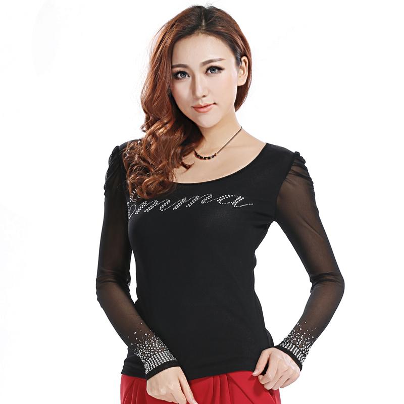 卢卡斯艾玛2013秋大码女装修身圆领长袖T恤  网纱打底衫 女 长袖 价格:39.00