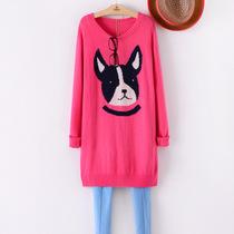 超好品质柔软兔毛卡通狗狗图案中长款兔毛修身打底毛衣秋冬韩版女 价格:79.00