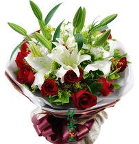 红玫瑰百合合肥鲜花店同城速递蜀山包河长丰肥东肥西生日情人送花 价格:78.00