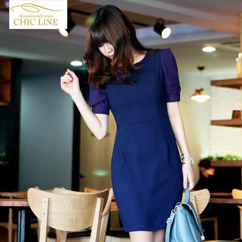 2013新款中袖连衣裙修身裙韩版包臀裙子夏天的衣服韩国时装美欣雅 价格:128.00