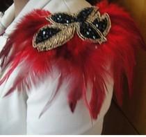 节日活动促销款夸张串珠羽毛肩章 胸花 胸针  舞台年会必备款 价格:15.80