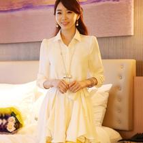 2013秋季新款 女 韩版大码宽松显瘦休闲长款衬衫 长袖雪纺衬衣 价格:99.00