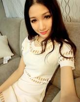 2013春夏韩国新款最爱名媛范显瘦百搭白色镂空气质连衣裙 Party款 价格:30.00