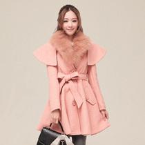 英伦毛呢外套 欧美街头超大毛领呢大衣 高档显瘦斗篷披肩腰带呢子 价格:399.00