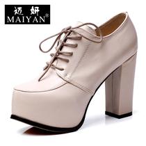 真皮高跟鞋粗跟超高跟单鞋女纯色裸靴小码女鞋深口单鞋MY13QD0003 价格:238.00