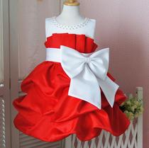 沐仝�女童公主裙礼服纱裙大红色花童裙儿童婚纱礼服裙超短裙 价格:208.00