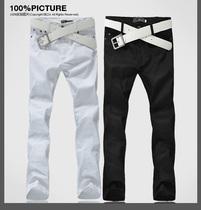 包邮2013春款男裤 春装直筒时尚撞色休闲裤 男士白色新款长裤下装 价格:39.60