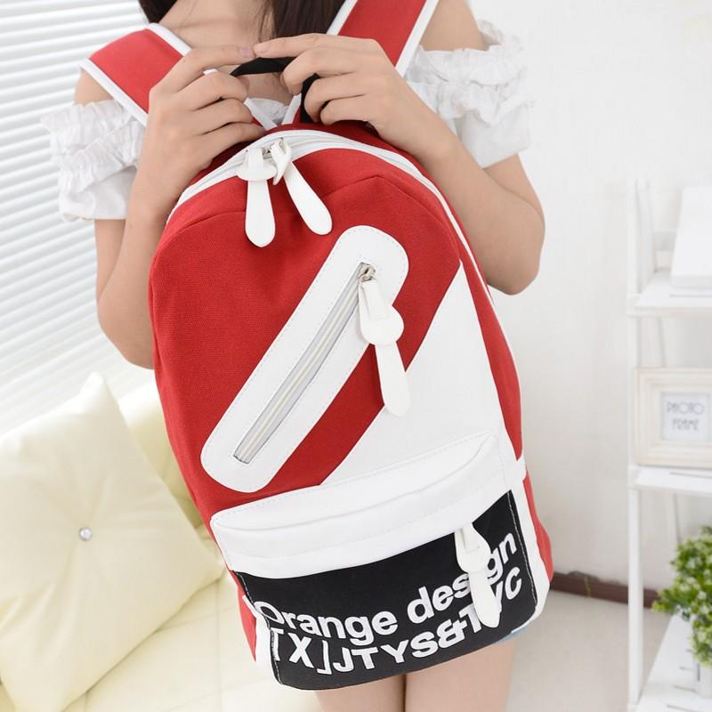 韩版帆布书包双肩包女大学生书包帆布包女生中学生背包潮包旅行包 价格:27.00