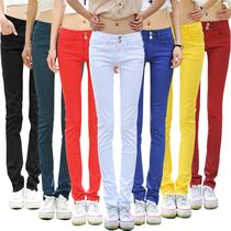 糖果色铅笔裤女2013新款排扣牛仔裤长裤女韩版潮显瘦大码弹力小脚 价格:59.00