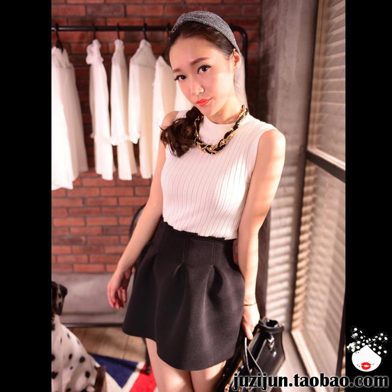 2013秋装新款女装欧美复古小高领螺纹无袖薄款套头打底针织衫背心 价格:53.00