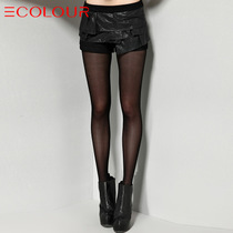 三彩正品女装新款冬装 时尚优雅通勤皮质拼接木耳边短裤 价格:219.00