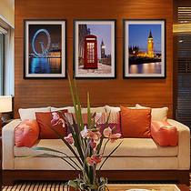 伦敦夜景客厅卧室床头有框画装饰画现代简约时尚墙画城市三联画 价格:48.00