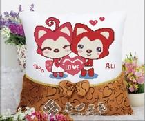 2个包邮印花十字绣抱枕新款 卡通靠垫靠枕客厅沙发卧室阿狸与桃子 价格:15.00