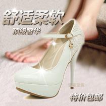 夜店风性感 白色单鞋 女 高跟 防水台 细跟高跟鞋 2013新款 搭扣 价格:89.00