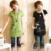 2013夏装新款韩版大码长款宽松圆领短袖t恤打底衫小衫短袖T恤上衣 价格:26.00