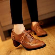 休闲鞋低帮鞋系带中跟粗跟圆头深口潮流白搭女士鞋子英伦风 价格:68.00
