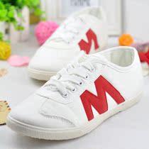 秋款韩版M字母 白色帆布鞋 女款休闲鞋平底鞋 小白鞋子单鞋 潮 价格:29.40