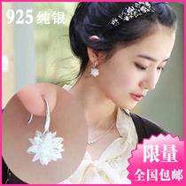 正品925纯银饰品 唯美冰花水晶耳环 锆石耳坠女 韩国夸张生日礼品 价格:34.00
