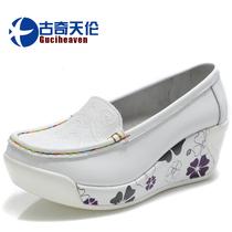 古奇天伦2013秋季新品真皮休闲鞋女款坡跟鞋高跟鞋单鞋厚底女鞋子 价格:148.00
