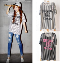韩国rowky竖条纹老虎头豹子头弹力T恤荧光字母数字短袖stylenanda 价格:14.80