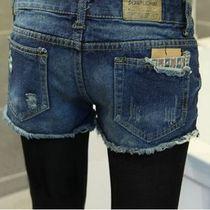 2013秋装新款韩版女装大码时尚显瘦牛仔裤磨破洞百搭牛仔短裤热裤 价格:24.00