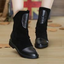秋冬新款平跟裸靴真皮内增高骷髅头短靴马丁靴英伦女单靴机车靴潮 价格:148.00