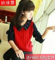 正品 秋冬新款蘑菇街女装修身针织衫百搭外套头娃娃领毛衣学生潮 价格:55.00