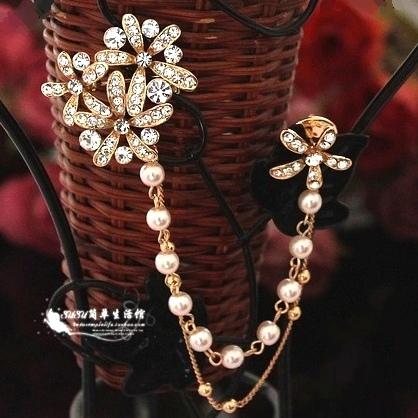 小雏菊胸针女别针披肩扣复古流苏水钻胸花水晶珍珠链条韩国版高档 价格:39.00