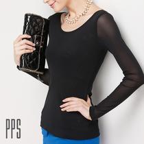 2013秋装新款韩版修身网纱打底衫女长袖上衣T恤黑色胖mm显瘦大码 价格:59.08