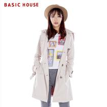 Basic House百家好春季新款女式韩版双排扣翻领风衣外套HLCA121G 价格:562.00