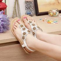 �劭幛巫� 纯色橡胶底 夏季软面皮花朵铆钉浅口平跟夹趾女鞋凉鞋 价格:79.65