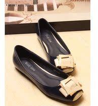 新RV方扣撞色混搭方头浅口平跟平底鞋深蓝米白色低帮单鞋40码女鞋 价格:39.00