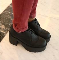 正品KMEI2013冬季女鞋 圆头深口橡胶底软面皮舒适鞋英伦低帮鞋 价格:78.00
